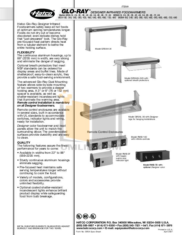 pdf for Hatco Other GR2AHL-60D manual