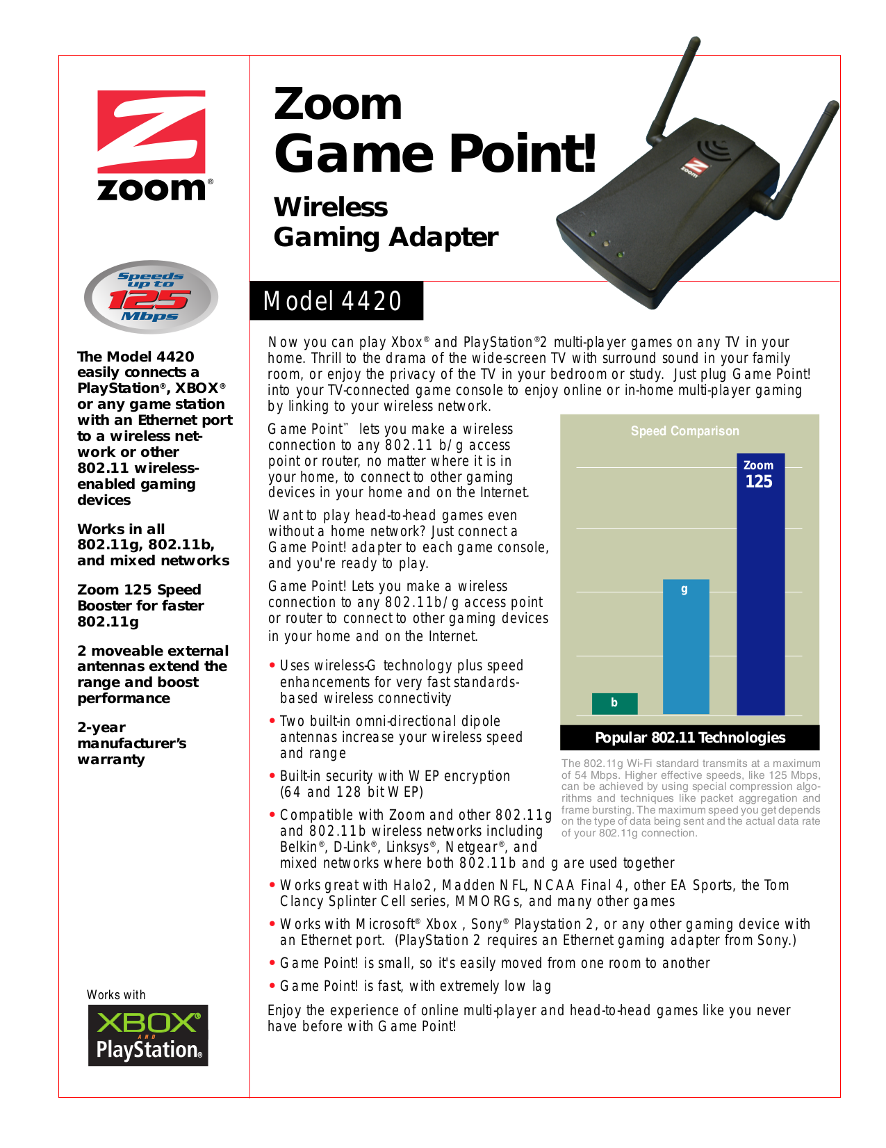 pdf for Zoom Other 4420 Wireless Gaming Adapters manual