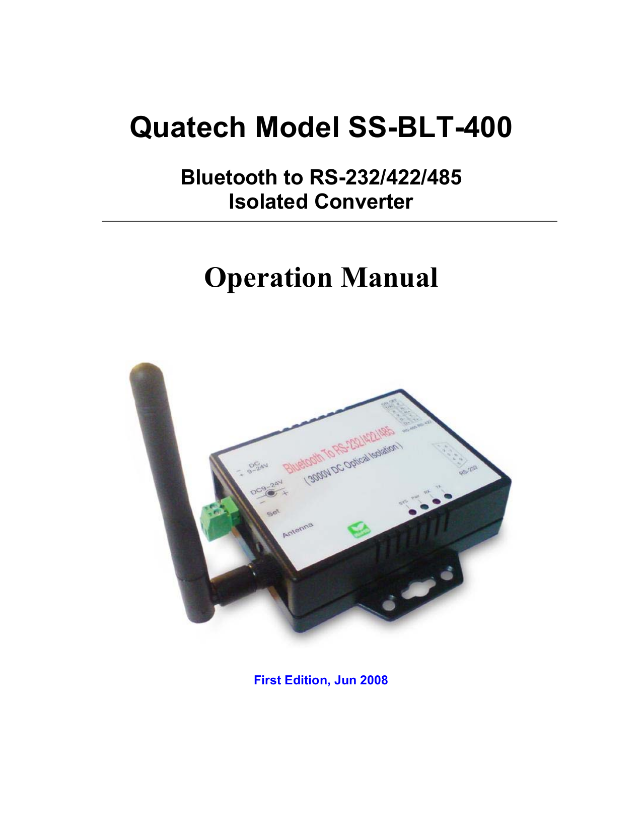 pdf for Quatech Other SS-BLT-400 Adapters manual