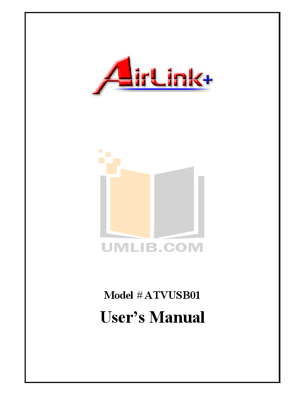 pdf for Airlink Other ATVUSB01 Adapters manual