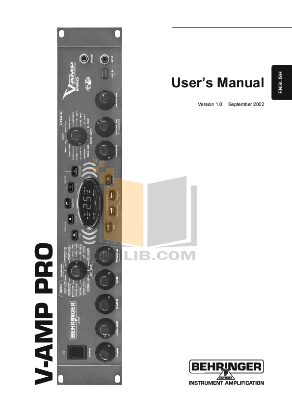 Behringer bass v amp pro manual.
