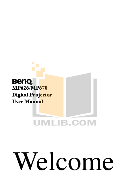 pdf for Benq Projector MP626 manual