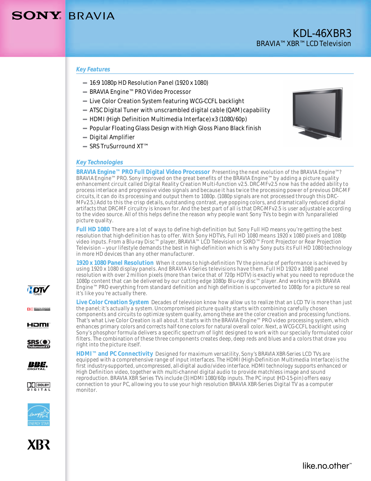 download free pdf for sony bravia kdl 46xbr3 tv manual rh umlib com Sony BRAVIA Remote Manual Sony BRAVIA 46 User Manual
