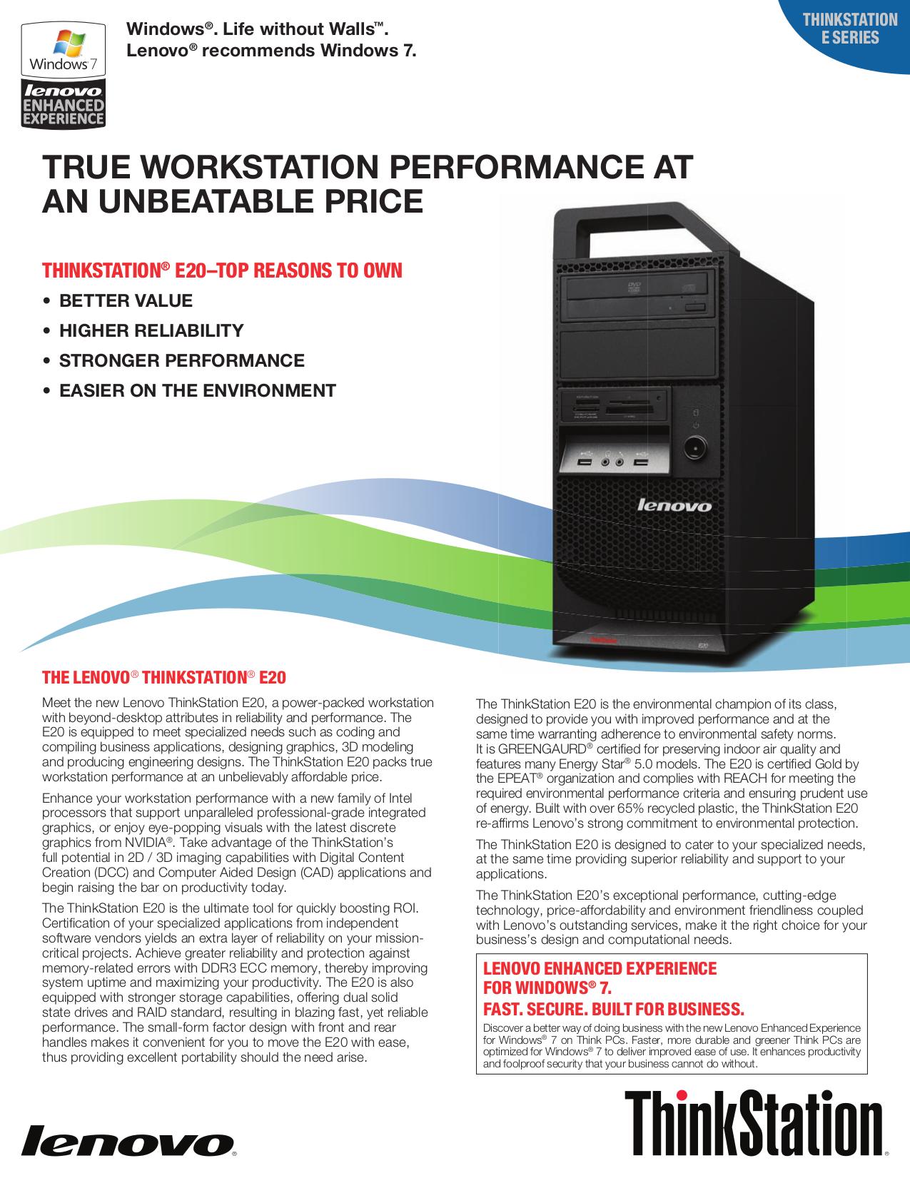 pdf for Lenovo Desktop ThinkStation E20 4221 manual