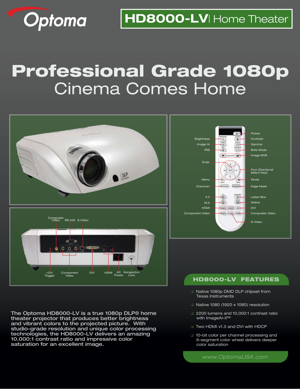 pdf for Optoma Projector HD8000-LV manual