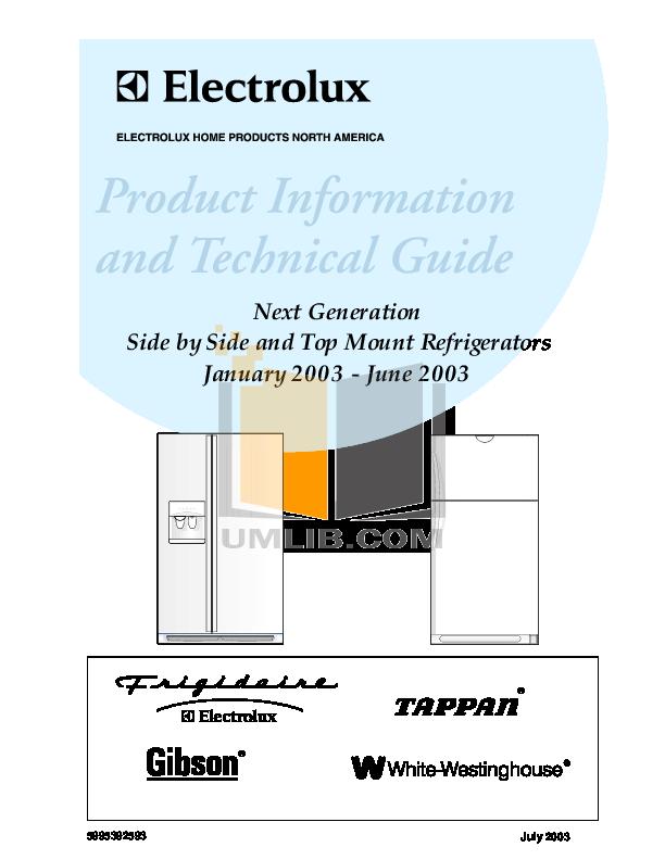 pdf for Frigidaire Refrigerator FRS26W2AW6 manual