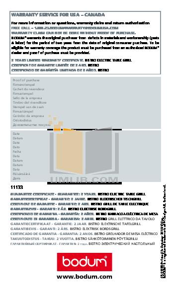 pdf for Bodum Grill Bistro 11133 manual