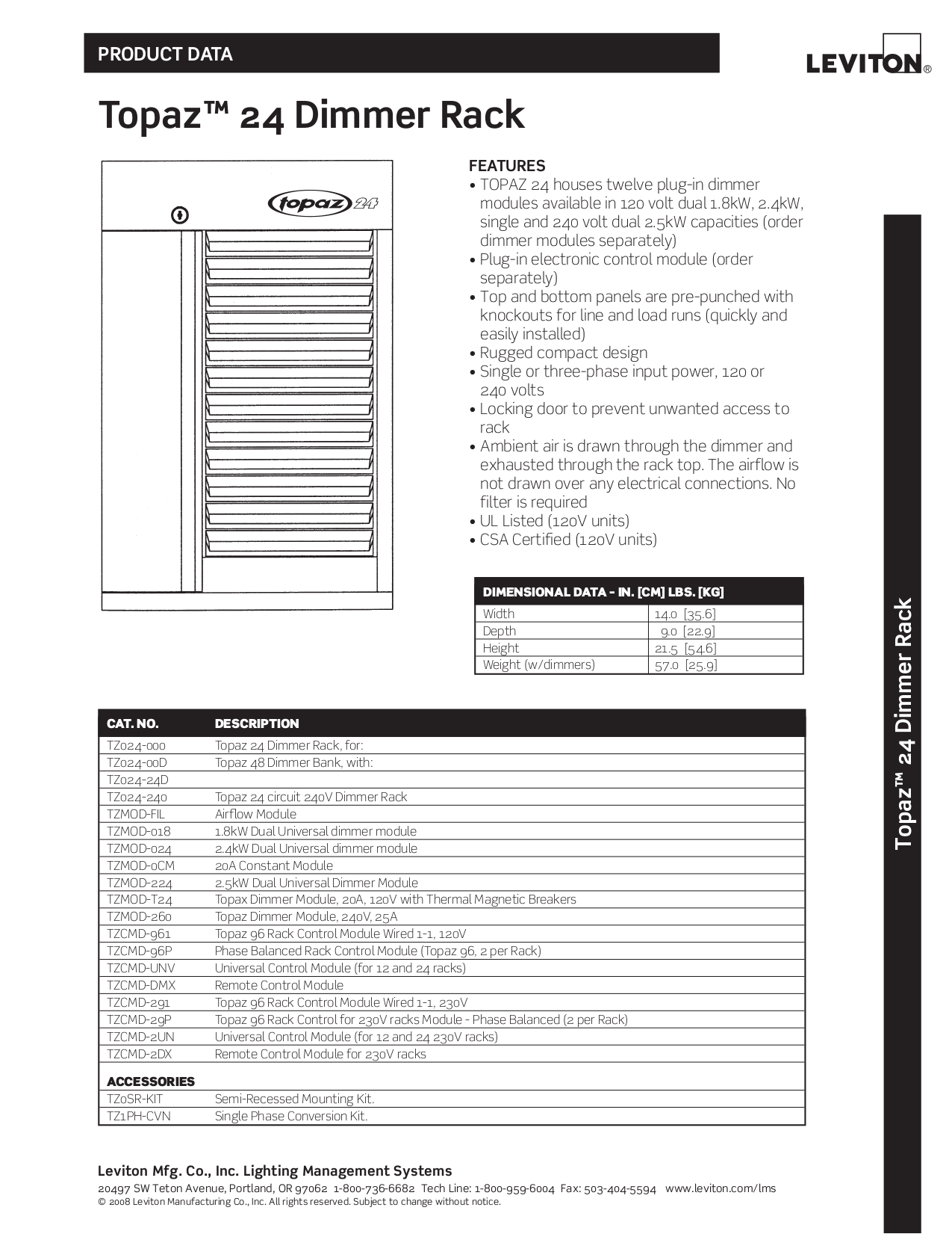 Download free pdf for Leviton Topaz 96 Dimmer Racks Other manual