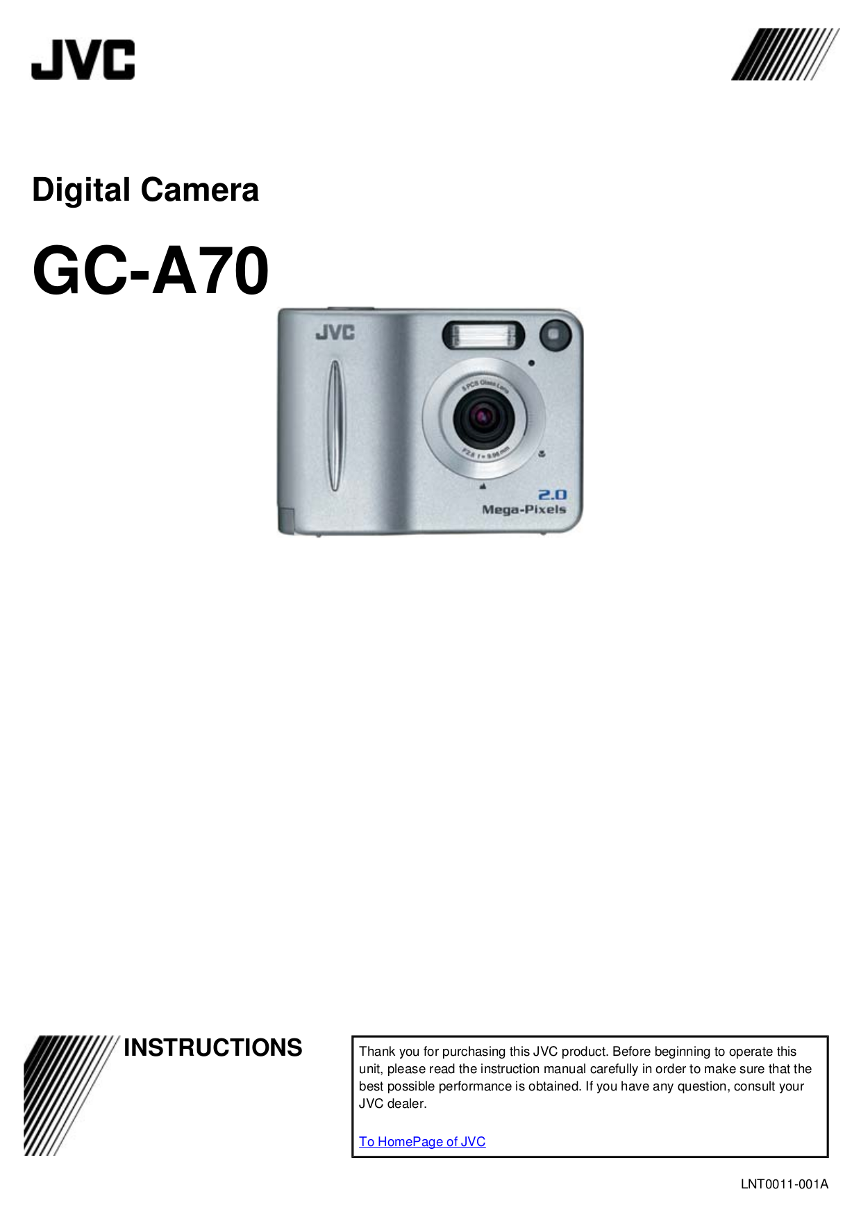 pdf for JVC Digital Camera GC-X3 manual