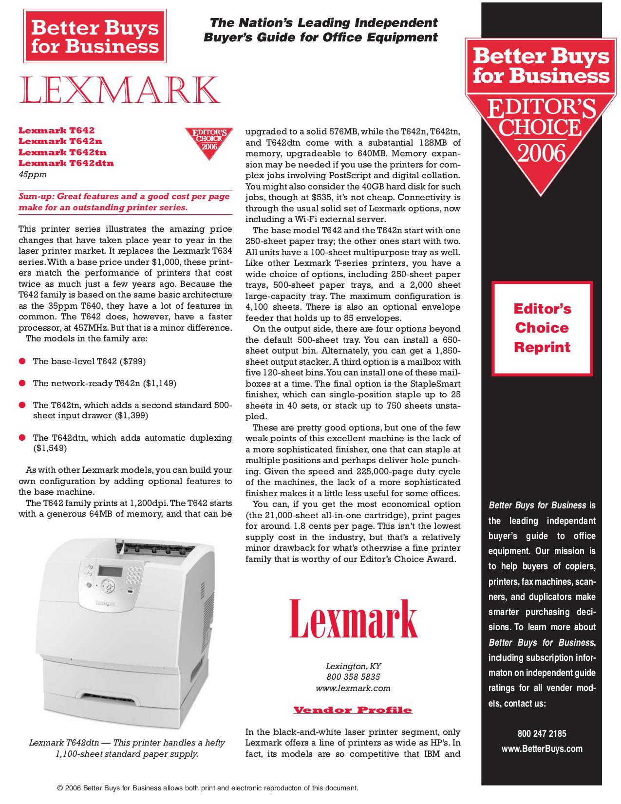 pdf for Lexmark Printer T642dtn manual