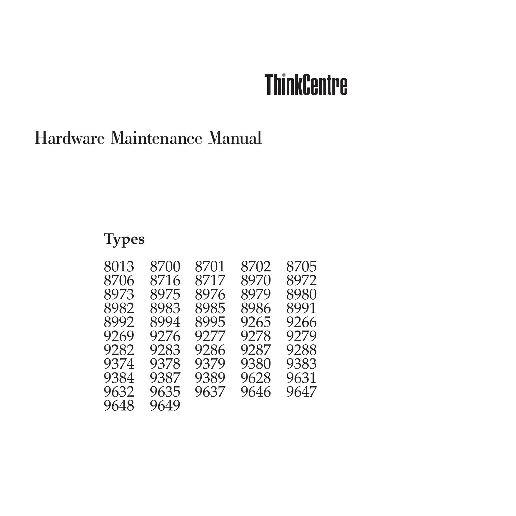 pdf for Lenovo Desktop ThinkCentre M55e 9637 manual