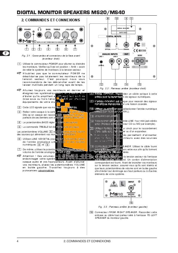 Behringer Speaker MS40 pdf page preview