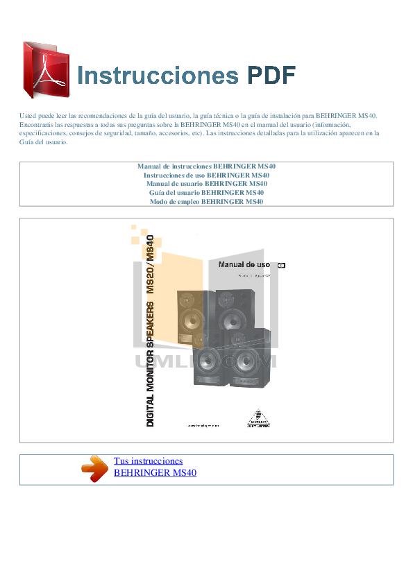 pdf for Behringer Speaker MS40 manual