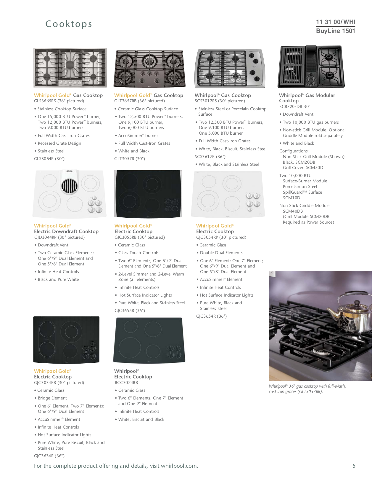 Whirlpool Other GZ9736XSS Cooktops pdf page preview