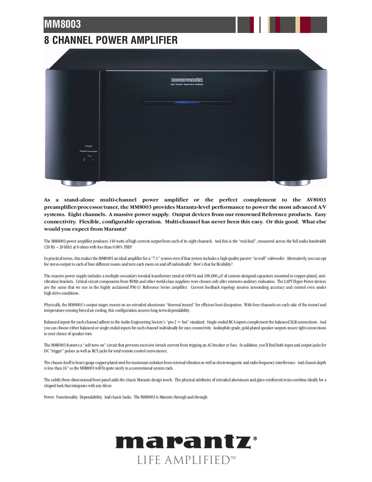 PDF manual for Marantz Receiver AV8003
