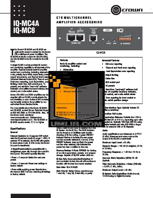 pdf for Crown Other IQ-MC8 IQ control modules manual