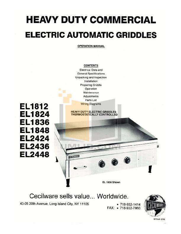 pdf for Cecilware Other EL-1824 Griddles manual