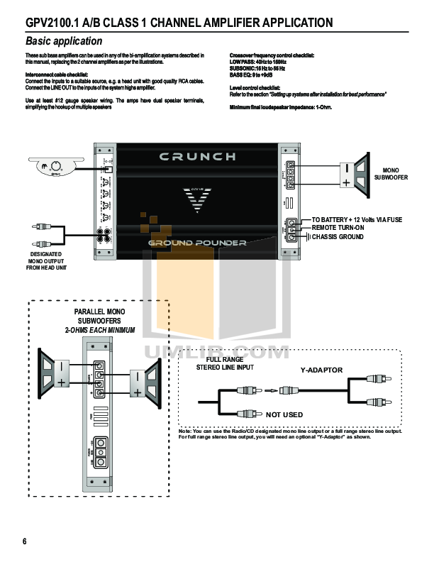 Crunch Car Amplifier Ground Pounder GPV1800.4 pdf page preview