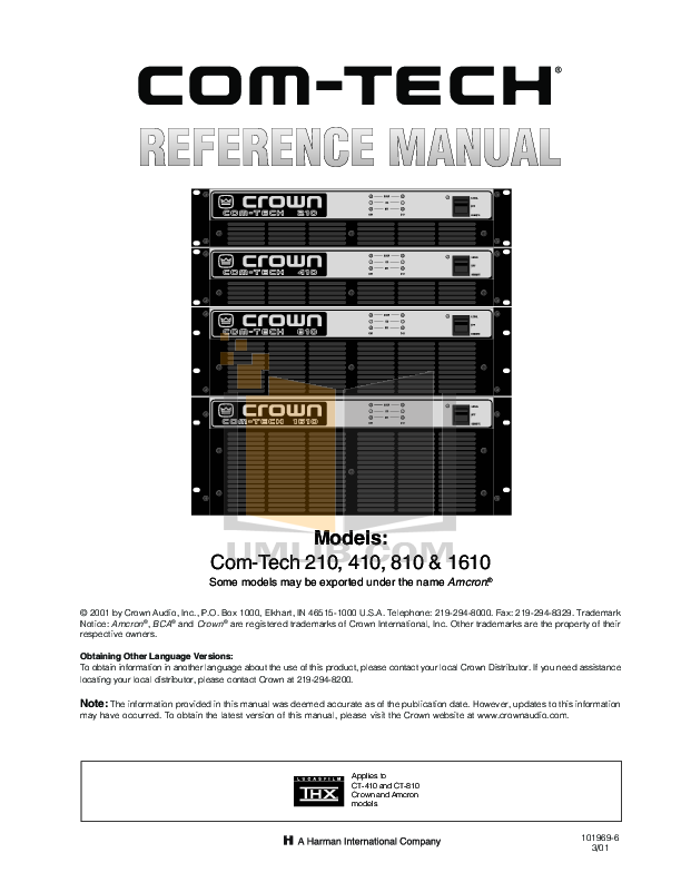 pdf for Crown Other MT-XLR Input Module manual