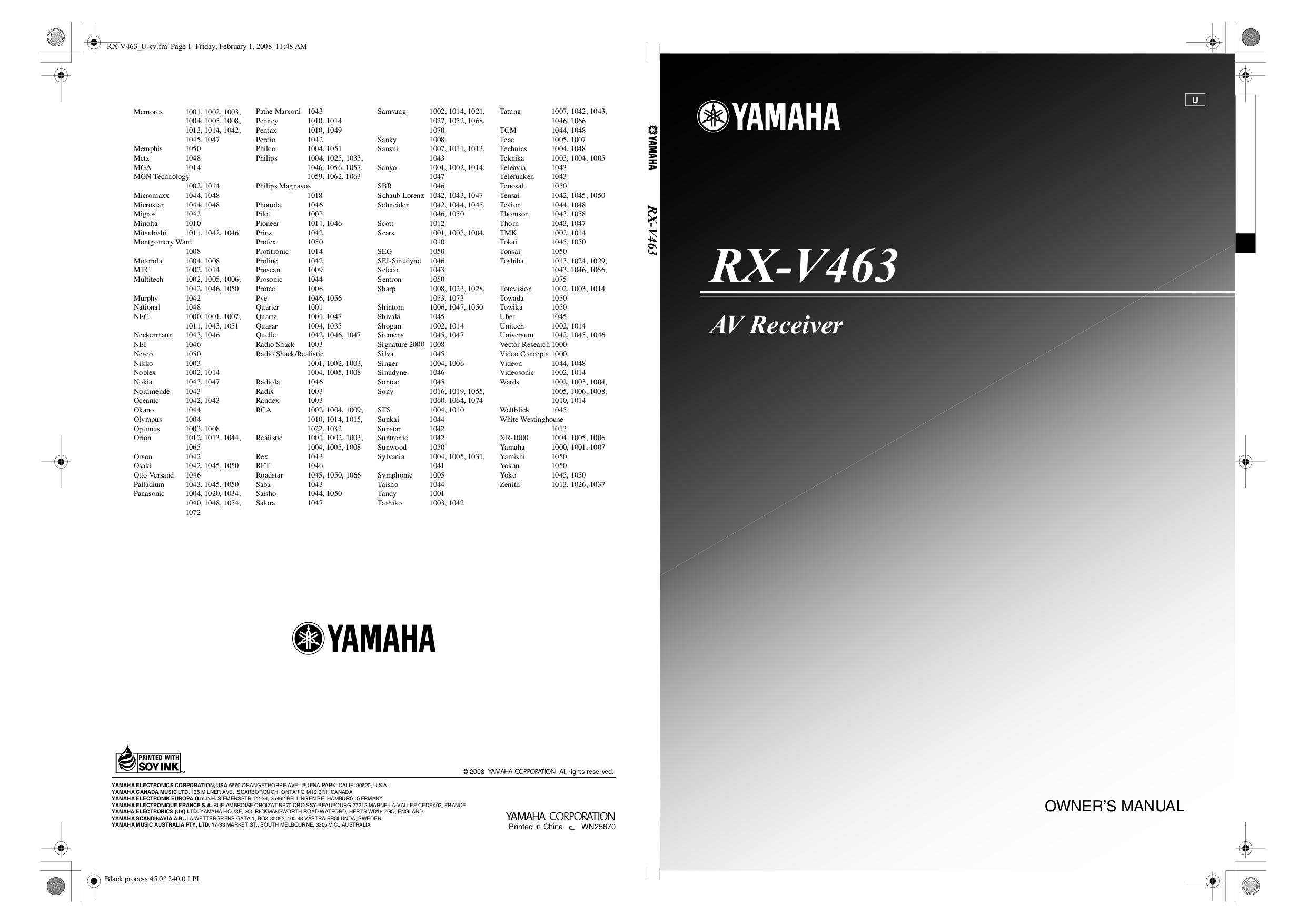 yamaha rxv673 manual