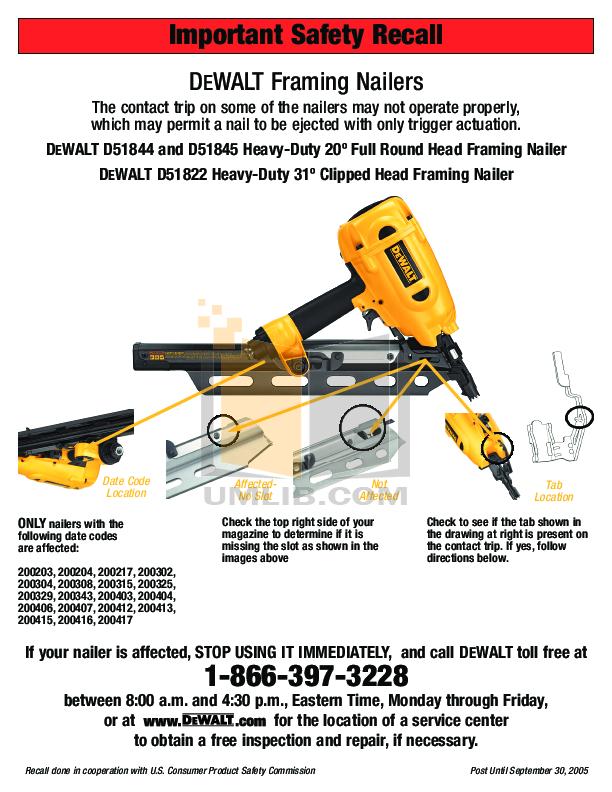 Download free pdf for Dewalt D51845 Framing Nailer Other manual