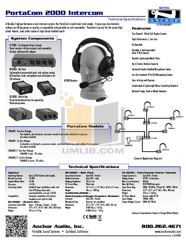 pdf for Anchor Headset COM40FCC manual