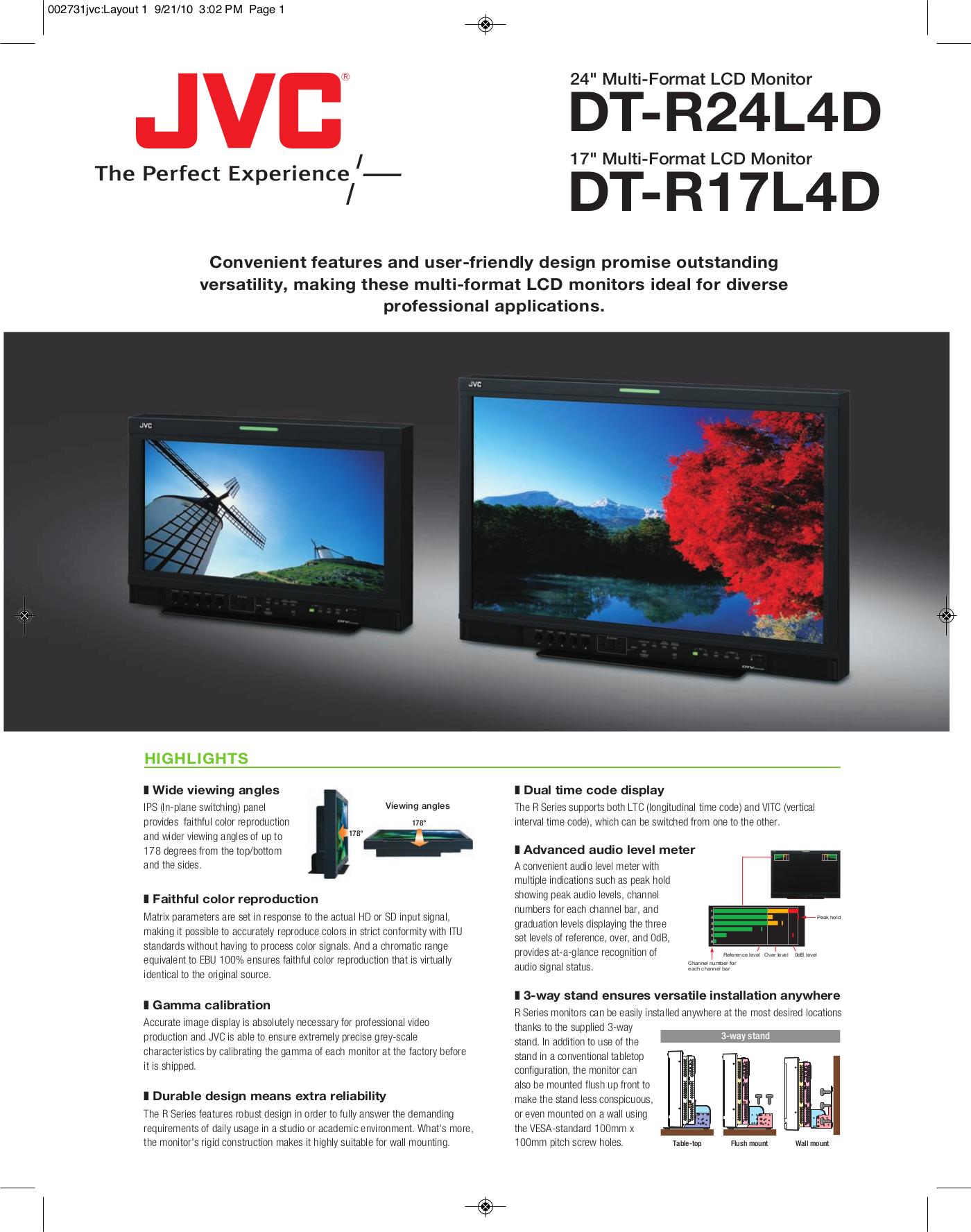 pdf for JVC Monitor DT-R17L4DU manual
