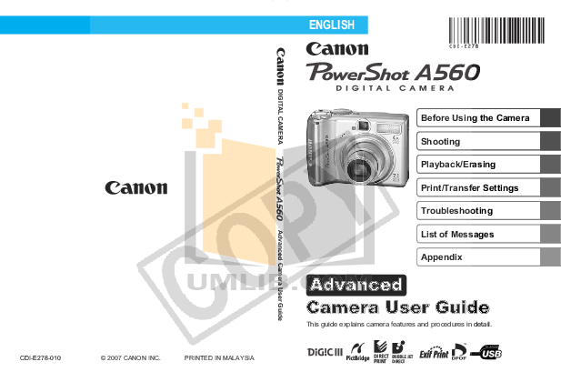 pdf for Canon Digital Camera Powershot A560 manual