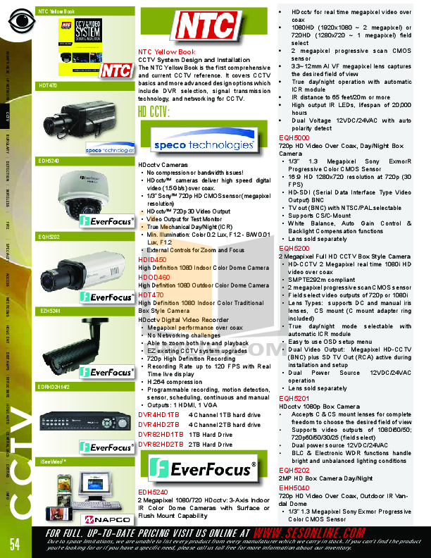 pdf for EverFocus Security Camera EZH5040 manual