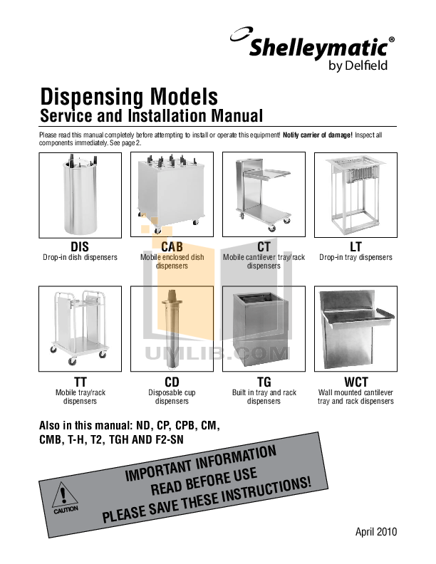pdf for Delfield Other CAB3-1200 Dish Dispensers manual