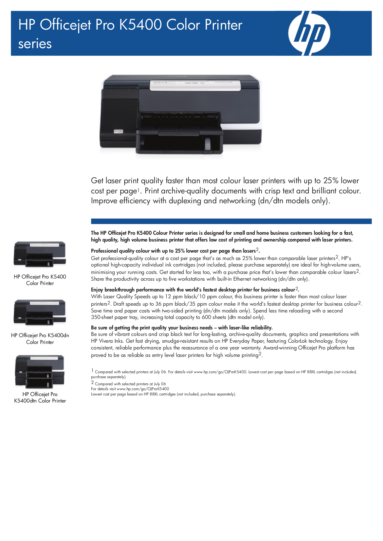 pdf for HP Printer Officejet Pro K5400 manual