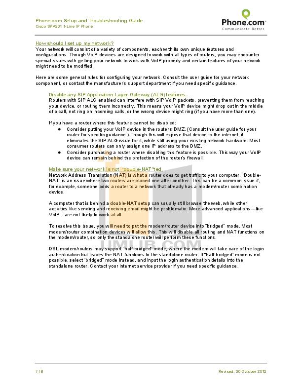 PDF manual for Cisco Telephone SPA301