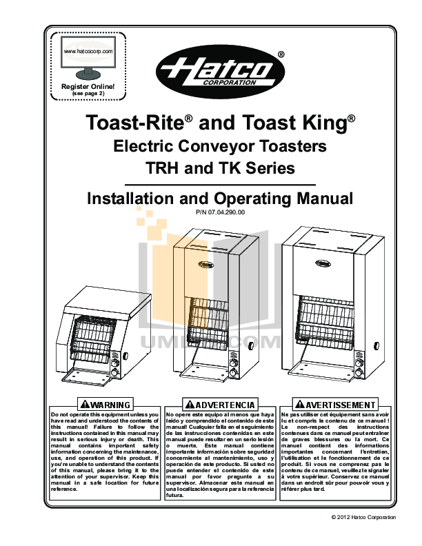 pdf for Hatco Other TK-90B manual