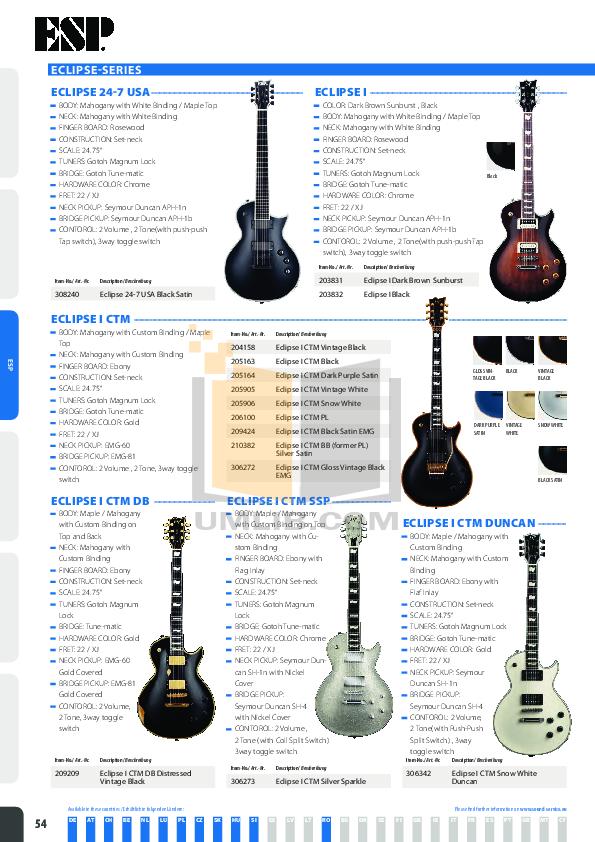 pdf for ESP Guitar Galder Shadow manual