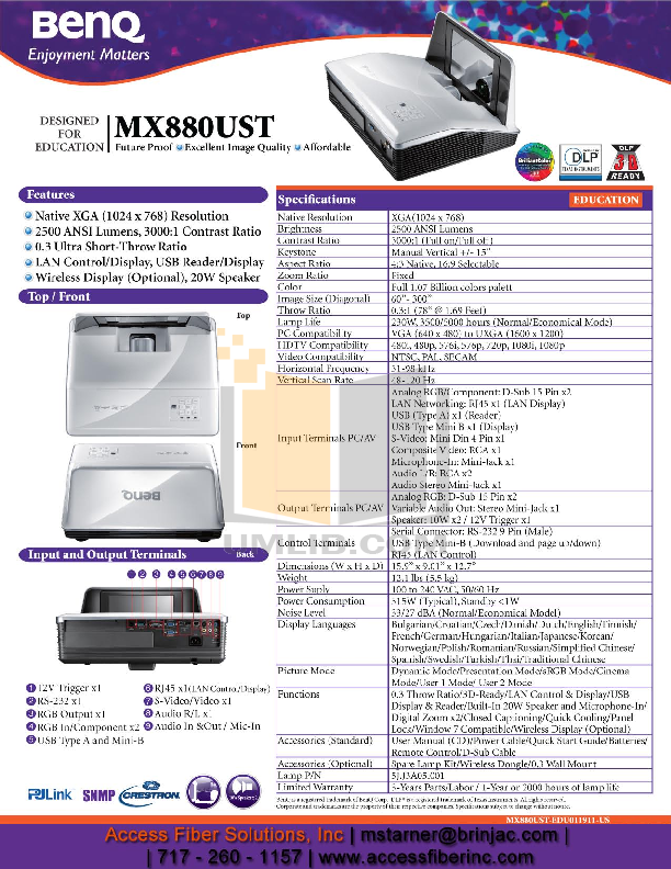 pdf for Benq Projector MX880UST manual