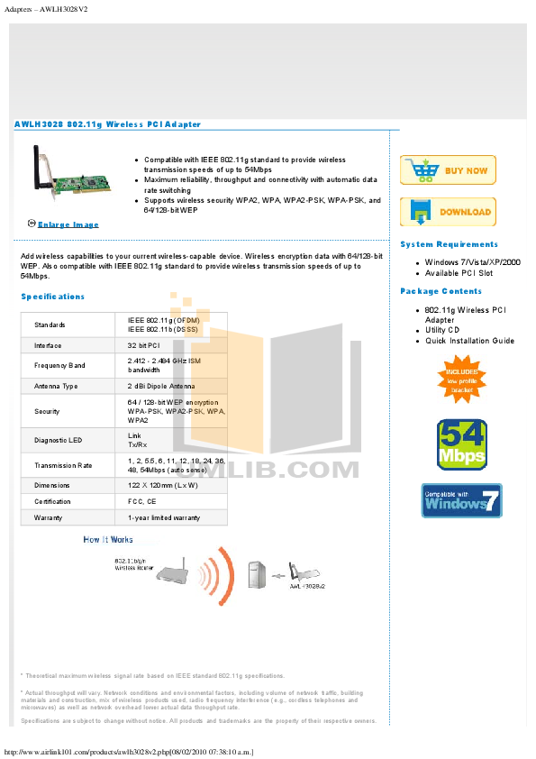 pdf for Airlink Other AWLH3028 Adapters manual