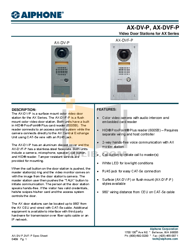 pdf for Aiphone Other AX-DVF Intercoms manual