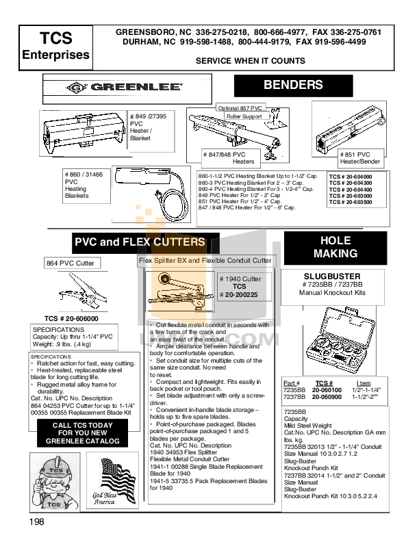 pdf for Greenlee Heater 851 manual