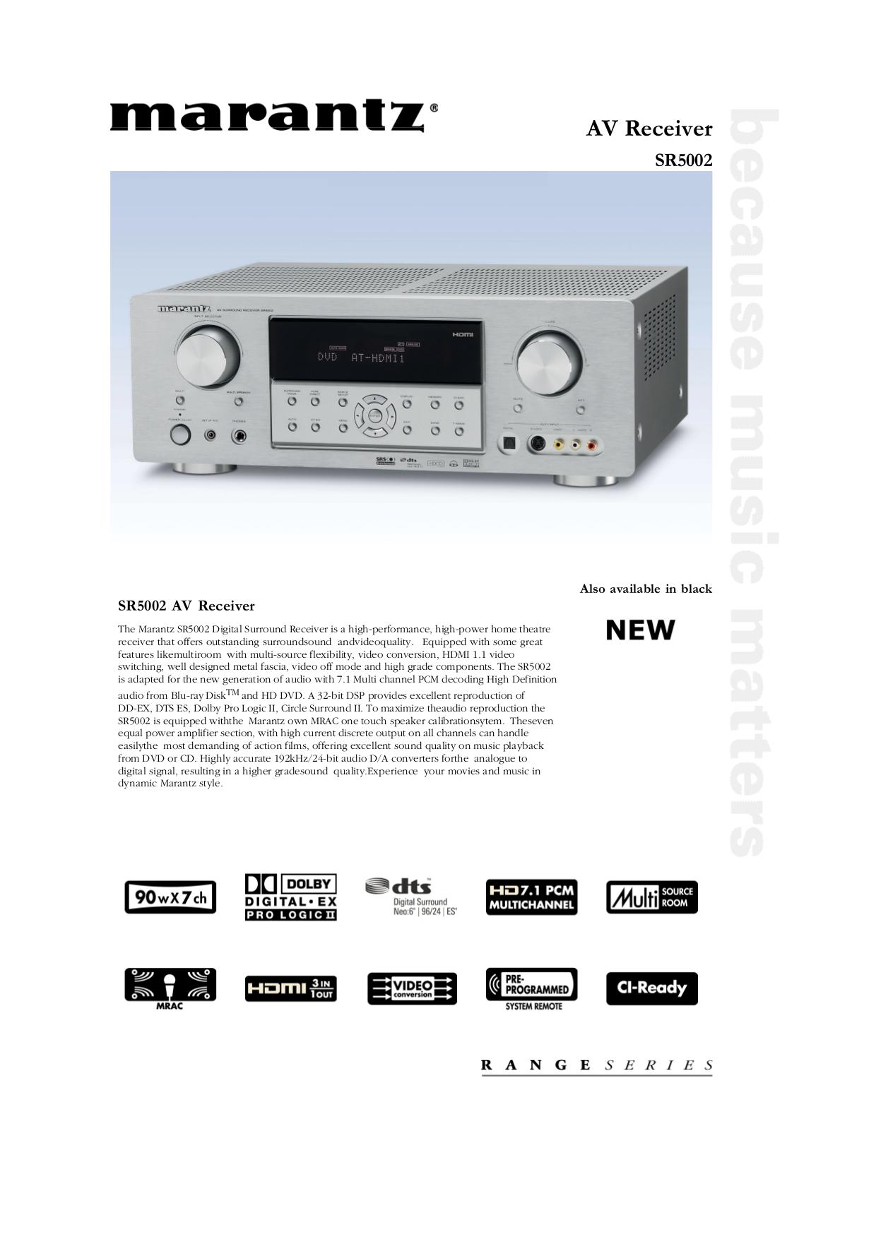 download free pdf for marantz sr5002 receiver manual rh umlib com Marantz SR5002 Receiver Marantz Receivers