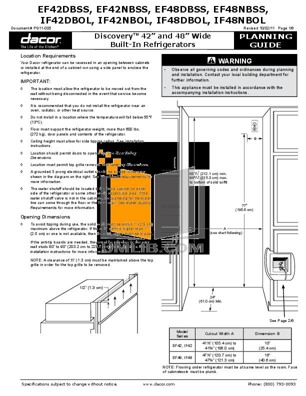 pdf for Dacor Refrigerator Epicure EF48DBSS manual
