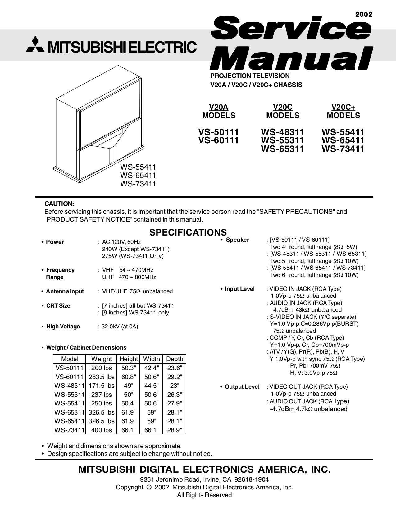pdf ws mitsubishi service preview codes brand for customer category document tv model manual page
