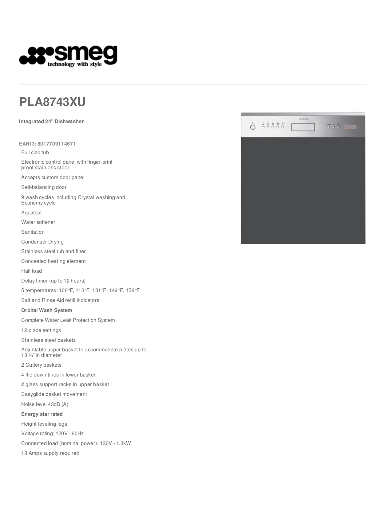 pdf for Smeg Dishwasher PLA8743XU manual