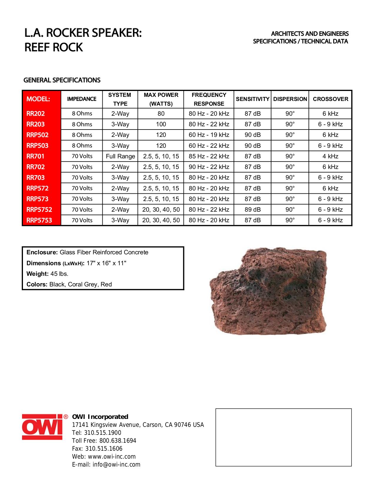 pdf for Owi Speaker RR202 manual