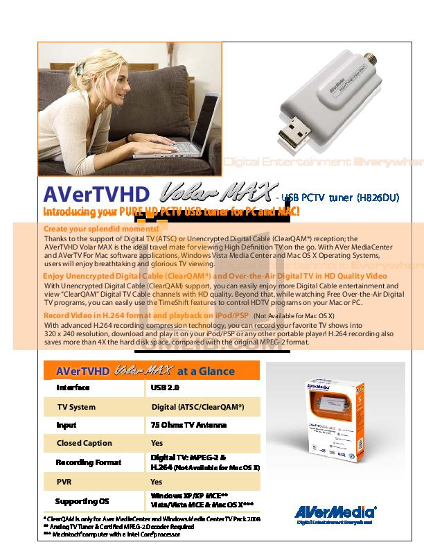 pdf for Avermedia Other AVerTV Volar AX TV Tuner Cards manual