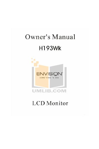 pdf for Envision Monitor H193WK manual