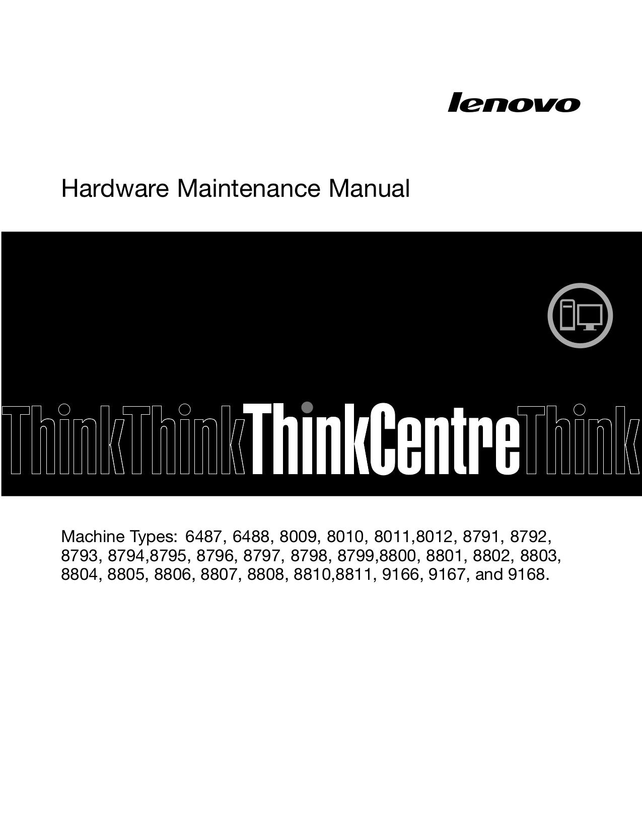pdf for Lenovo Desktop ThinkCentre M55 9167 manual