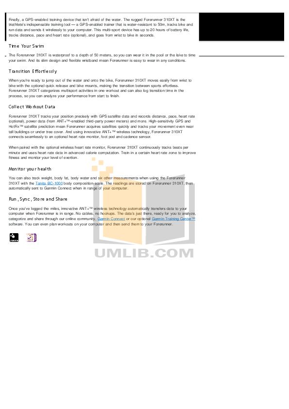 download free pdf for garmin forerunner 310xt gps manual