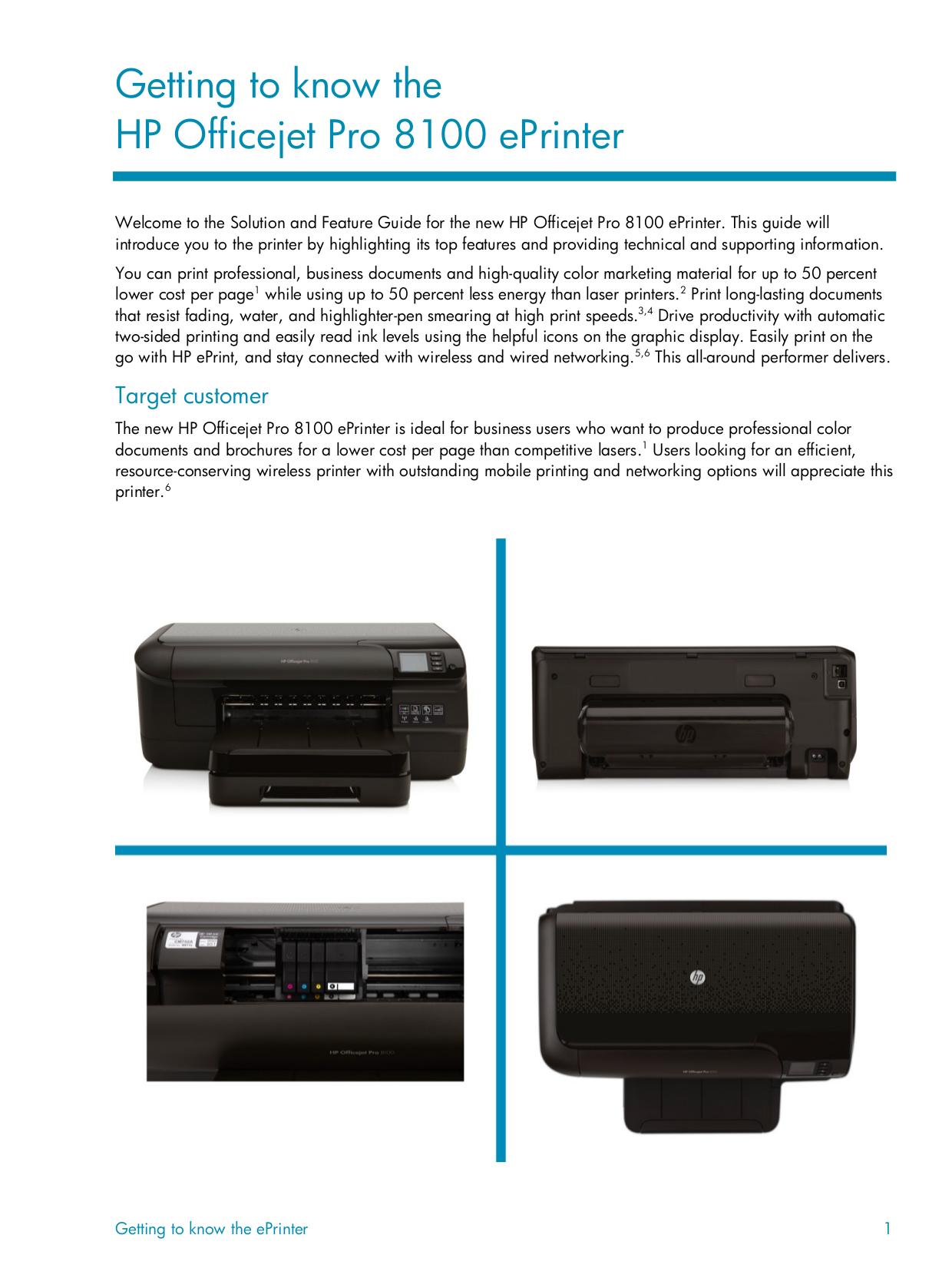 ... HP Printer Officejet Pro 8100 pdf page preview ...