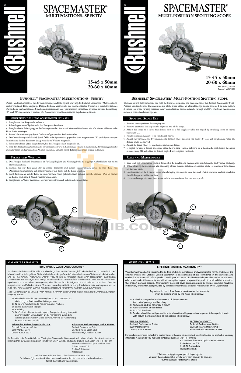 pdf for Bushnell Other Spacemaster 78-7360 Spotting Scope manual