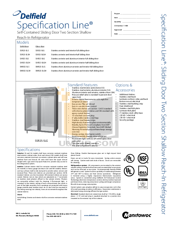 pdf for Delfield Refrigerator SAR2S-SLS manual